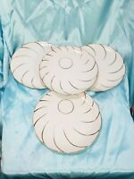 Luncheon Plates White Scalloped  Gold Trim  Vintage