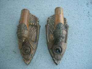 TWO MATCHING ANTIQUE METAL ART DECO WALL MOUNT LIGHT SCONCES VERY NICE