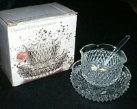 INDIANA Glass DIAMOND POINT Mayonaise / Dip Bowl, Spoon & Under Plate NEW in Box