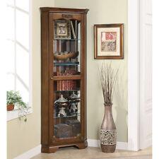 Brown 4 Glass Shelves Corner Curio Display Cabinet Home Living Storage Furniture