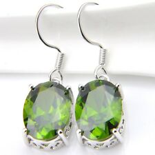 Oval Cut Olive Peridot Gemstone 925 Sterling Silver PlatedDangle Hook Earrings