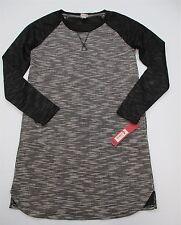 new MERONA #DR325 Women's Size XS Crewneck Long Sleeve Pockets Gray Shift Dress