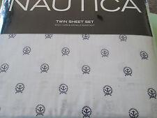 Nautica--Anchor Design---Pale Gray/Navy--Twin Sheet Set---Cotton/Polyester---New