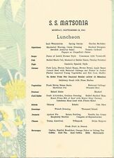 HAWAIIANA - SHIP MENU - S. S. MATSONIA - SEPTEMBER 15, 1941 - VINTAGE & ORIGINAL