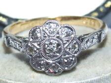 Impresionante Arte Deco c1920 Solid 18 CT Oro, Natural Diamante Set Daisy Cluster Anillo
