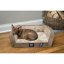 Gel Memory Foam Quilted Ortho Couch Dog Bed, Small Brown