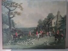 HELIOGRAVURE PEINTURE PAINTING SERIGRAPHY CHASSE COUR HUNTING CHEVAL HORSE DOGS