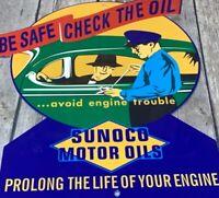 """VINTAGE SUNOCO MOTOR OILS ADVERTISING 12"""" METAL DIE-CUT SIGN OIL GAS ATTENDENT"""