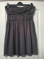 ATMOSPHERE GREY SHEER STRAPLESS BANDEAU GATHERED DETAIL FLOATY PROM PARTY DRESS