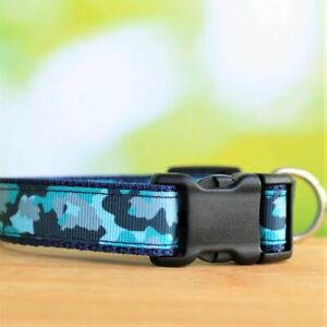 Adjustable Dog Collar for Smaller Breeds and Puppies - Blue Camo