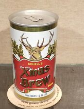 Schells White Xmas Brew Straight Steel Bottom Open Pull Tab Beer Can New Ulm