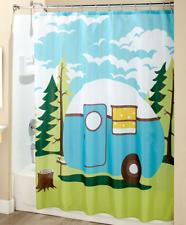 Travel Themed Fabric Shower Curtain Trailer RV Camper Print Bathroom Whimsical
