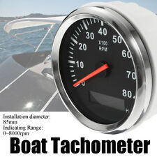 AU Marine Tachometer Boat Tacho Meter Gauge LCD Hourmeter 12V/24V 8000 RPM 85mm