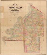 A4 Reprint of America Cities Towns States Map Coahoma County Mississippi