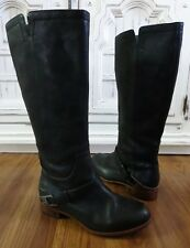 Women' UGG Australia 3184 Channing Black Leather Riding Tall Winter Boots 6/37