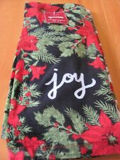 Nwt St. Nicholas Square Yuletide Kitchen Towels Set Of 2 Poinsettia Black & Whit