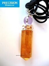 Citrine with Amethyst Ball Top Crystal Precision Pendulum Pendant Necklace