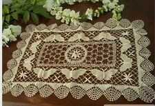 Handmade Crochet Lace Table Placemats Doilies Vintage Bobbin Lace Rectangular