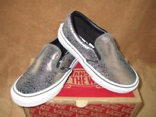 NEW VANS CLASSIC SLIP ON CRACKED MTLIC SHOE GUN MTL/TR WHITE YOUTH 12Y