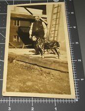 Man w/ DALMATIAN DOG BREED Fireman Pet Puppy READ BACK Hotel Rear Vintage PHOTO