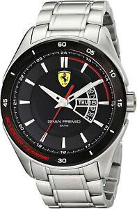 Genuine Ferrari Mens 0830189 Gran Premio Silver Tone Stainless Steel Sport Watch