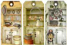"""SET OF 12 (1.75""""X3.5"""") PRIMITIVE COLLECTIONS KITCHEN SCRAPBOOK HANG GIFT TAGS"""