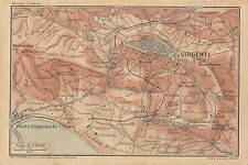 Carta geografica antica AGRIGENTO e DINTORNI Sicilia TCI 1919 Old antique map