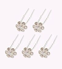 Crystal Flower 5-Pack Hair Pins. Sparkly Accessories for Updo Hairstyles