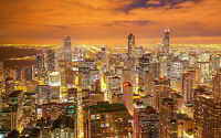 CHICAGO NIGHT CITY VIEW NEW A3 CANVAS GICLEE ART PRINT POSTER FRAMED