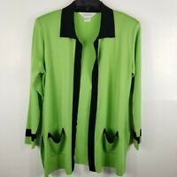 Exclusively Misook Women Open Front Cardigan Sweater Pockets Green Black S