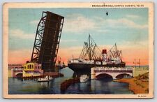 Bascule Bridge in Corpus Christi, Texas Nueces County Linen Postcard