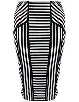 New Monochrome Vertical & Horizontal Stripe Bodycon Midi Pencil Stretch Skirt