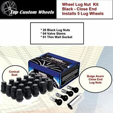 C1707B Wheel Installation Lug Kit Black Lug Nuts M12x1.50 fit Chevy Camaro 93-02