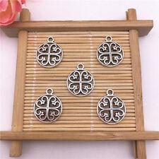 Wholesale 8pcs Tibet Silver Retro Flowers Charm Pendant Beaded Jewelry