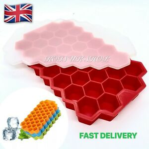 Ice Cube Tray Mould with Lid Honeycomb Shape 37 Grids Food Safe Grade Silicone