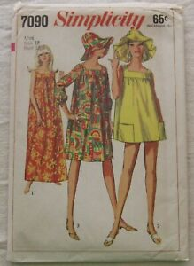 Vintage Dress Sewing Pattern*Simplicity 7090*UNCUT/FF*Size 12*muumuu*beach*hat