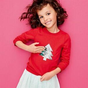 Avon Kids Childrens Girls Christmas Jumper Reversible Sequin Tree Age 3-4 Years