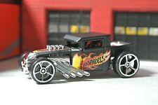 Hot Wheels - Bone Shaker - Black w/ Flames - Loose - 1:64 - HW Daredevils