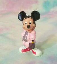 Vintage Disney Mickey Mouse PVC Figure in Pink Shirt 80's Suit Outfit Applause