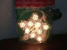 "Joybrite Glowing Star Tree Topper 11 Clear Lights Silver Tinsel Mini 5"""