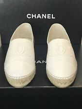 CHANEL Classic Leather Espadrilles Flats Shoes White Sz 41