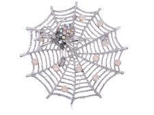 Crystal Rhinestone Brooch Pin Shiny Gift Fall Spider Lily Spinning Web Crawling