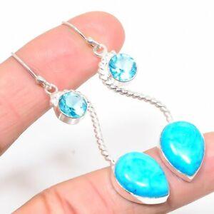 """Sleeping Beauty Turquoise & Blue Topaz 925 Sterling Silver Earring 2"""" KE8103"""