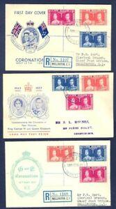 NEW ZEALAND 1937 CORONATION 3 DIFF CACHET TYPES