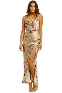 Pre Loved Nicholas Simone Dress in Watercolor Floral Taupe Size AU 14