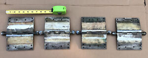 """4 Antique YALE & TOWNE COPPER PLATED BRASS 6""""x4"""" HINGES - Pat. 1887 - VERY HEAVY"""