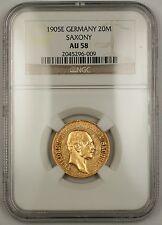 1905-E Empire of Germany Twenty Mark Gold Coin Saxony NGC AU-58 SG