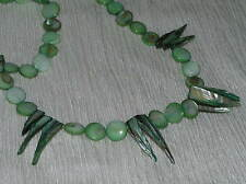 Estate Spikey & Round Disk Green Mother of Pearl Necklace – silvertone findings