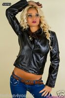 Biker Jacket Sexy Women's Ladies Black Cream Leather Look Jacket Size 8,10,12 UK