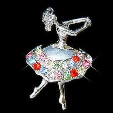 w Swarovski Crystal ~Rainbow BALLERINA~ BALLET DANCER Dance Pin Brooch Xmas gift